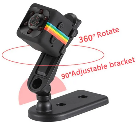 mini action sports camera in black with adjustable bracket and rotating angle