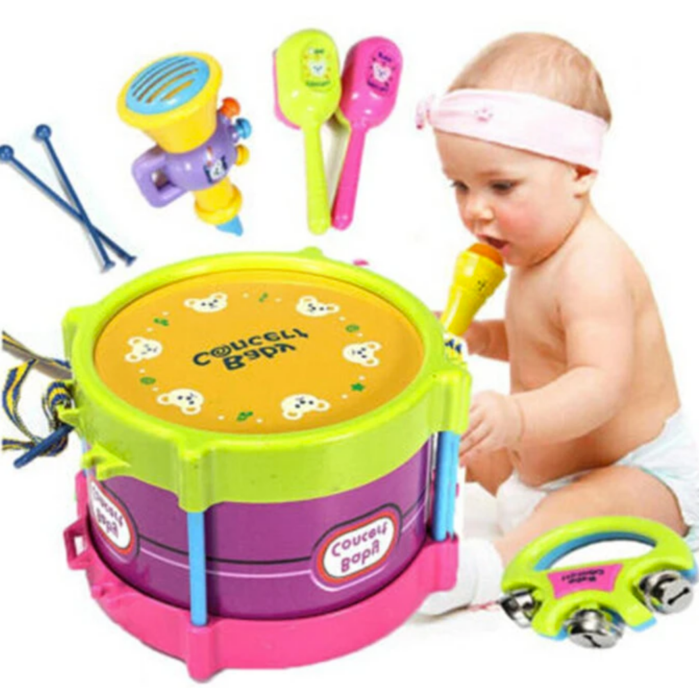 BabyBeats™ 5 Piece Drum Musical Instrument Toy Set for Baby and Kids Gift