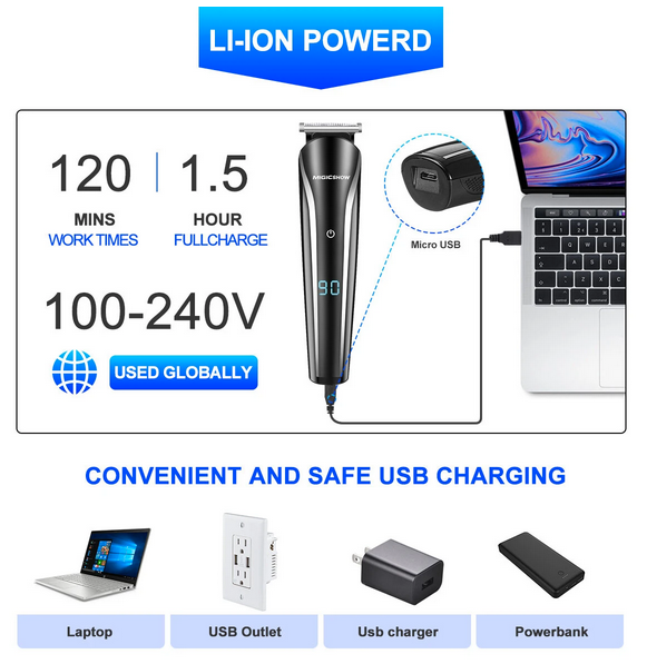 battery powered men's electric hair clippers with USB charge