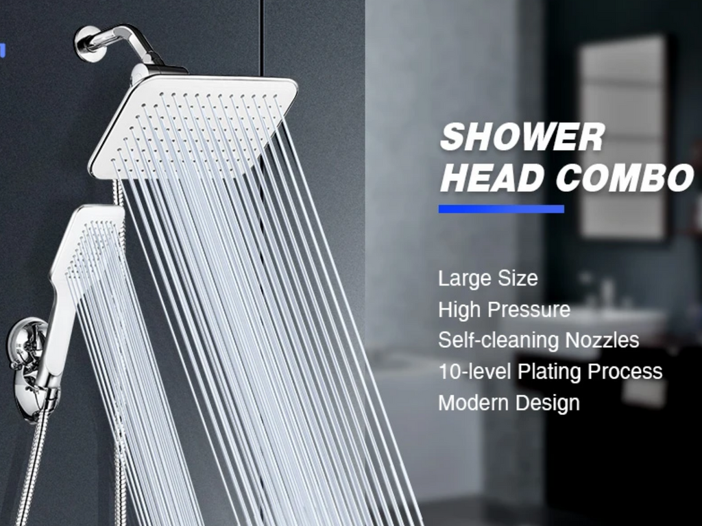 shower head combo set with rainfall head and handheld water