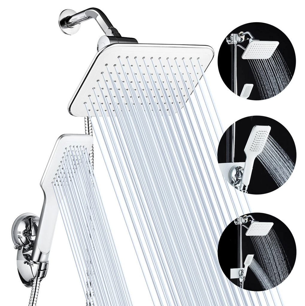 rainfall waterfall shower head with water pouring out