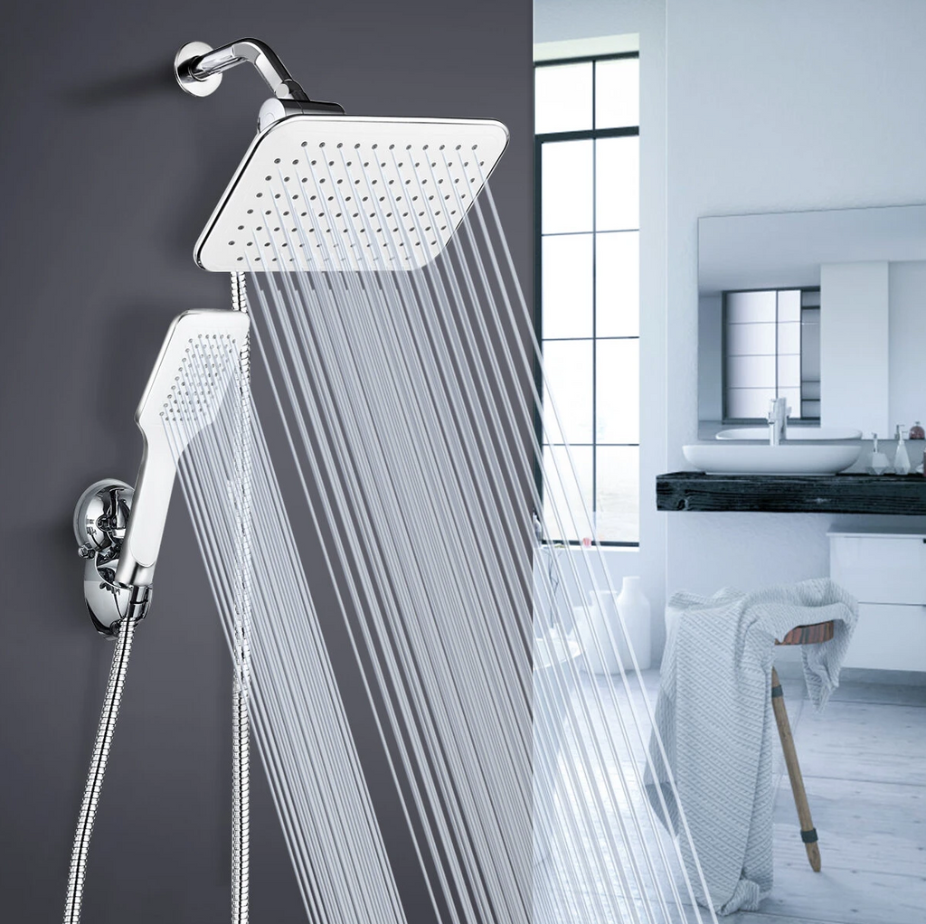 luxury bath with high powered shower head with water pressure and handheld head