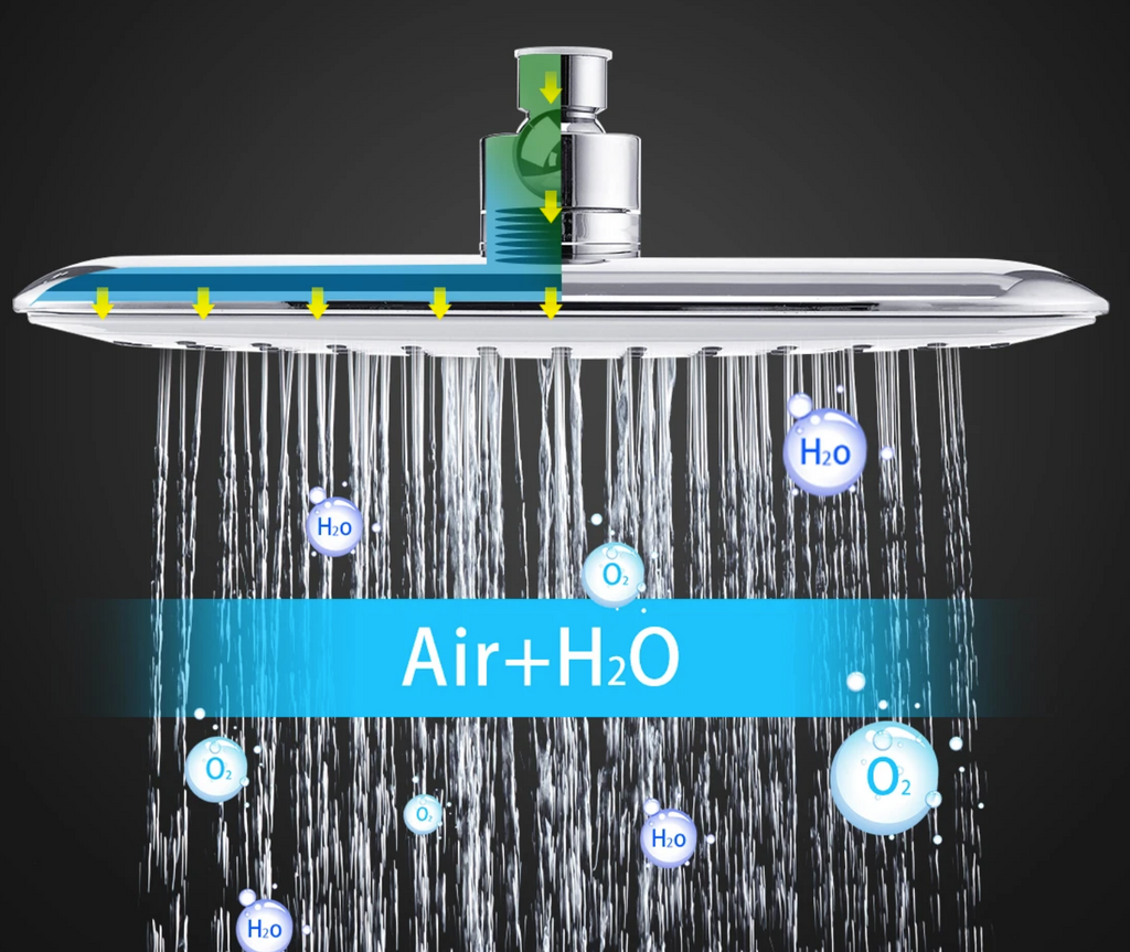 oxygen and water combined in rainfall shower head