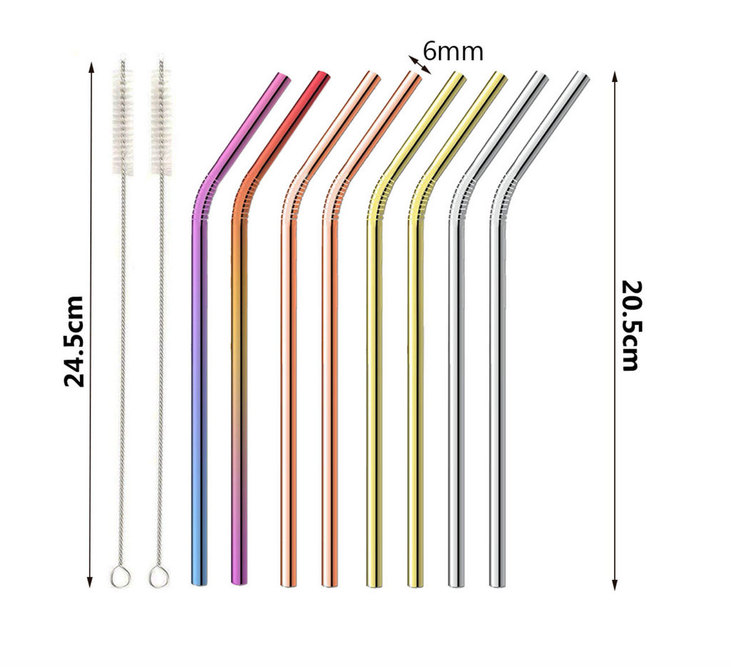 CleanGreen™ 10 Pcs Reusable Stainless Steel Straws - Multi Colored Metal Straws with Cleaning Brushes