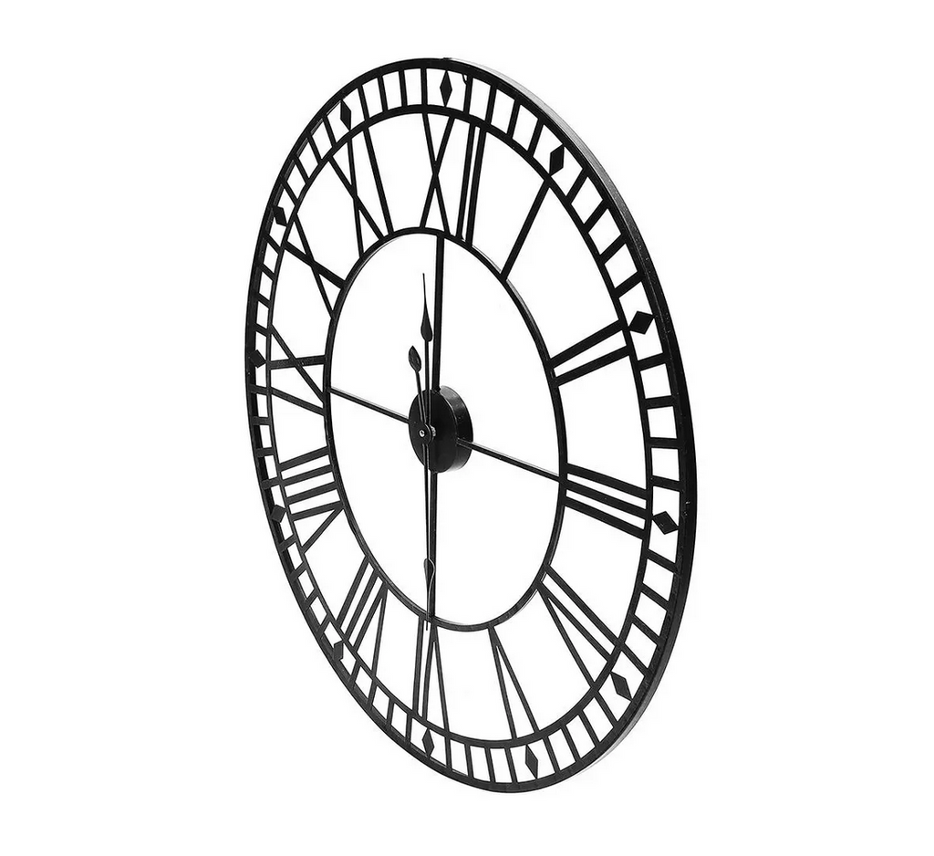 "Airalux™ 31"" Decorative Vintage Style Large Metal Wall Clock Indoor & Outdoor - Black"