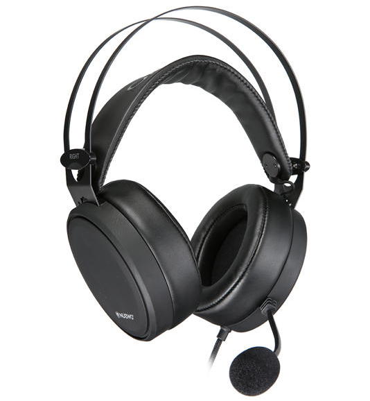 left view of gaming headset with adjustable design and mic