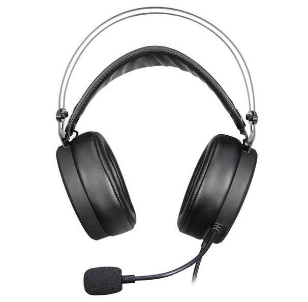 front view of gaming headset with comfortable headphones and mic