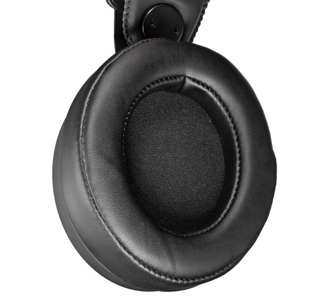 close up of ergonomic padded ear phones of gaming headset