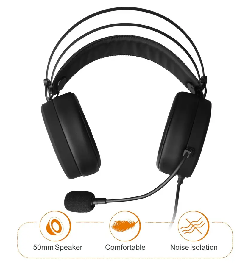 gamers headset with 50mm speakers, comfortable, and noise isolation