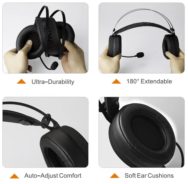 gaming headphones showing ultra durability, extendable, auto-adjust comfort, and soft ear cushions