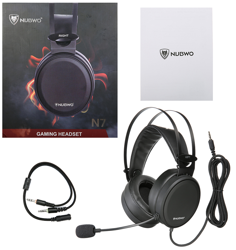 nubwo gaming headset with cables and microphone