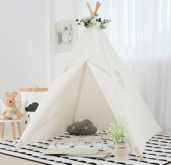 KidsWorld™ Play Teepee Tent in Cotton Canvas for Children | Girls & Boys