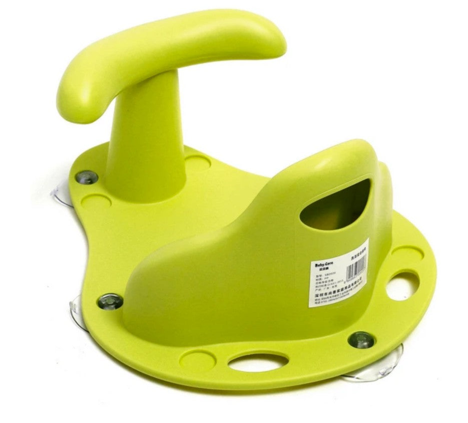 close up of green infant bath seat