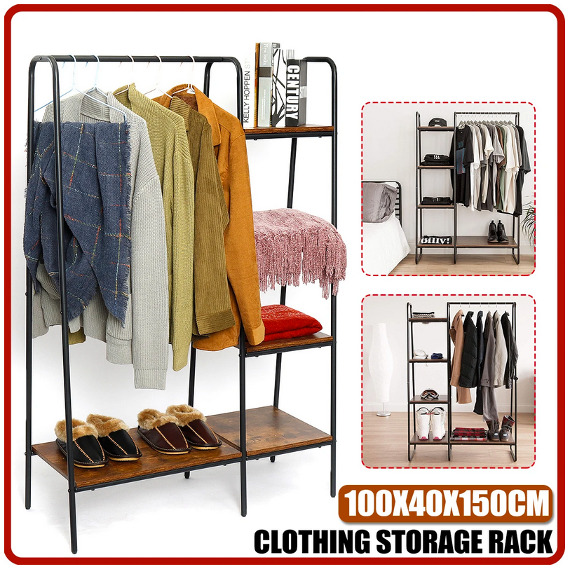 clothing storage rack for coats shoes clothes blankets