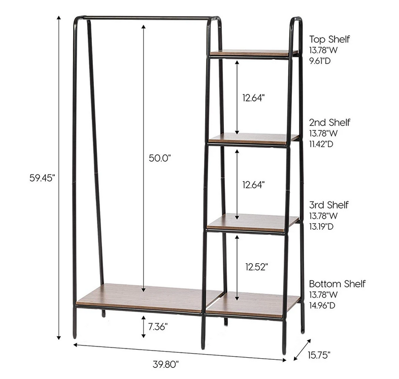 dimensions of large wooden clothing coat rack