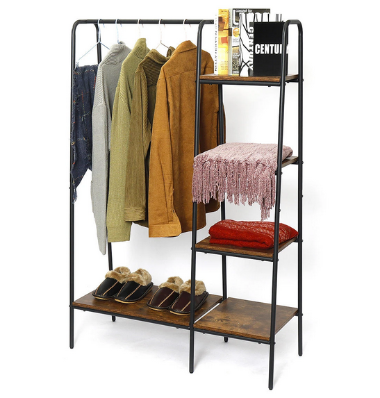 wood clothing rack with shelves clothes coats shoes and books