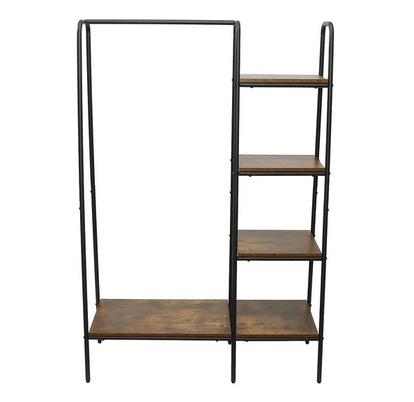 clothing garment rack with four shelves