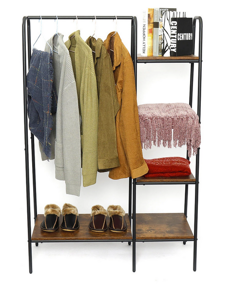 clothing rack with coats shoes books on shelves