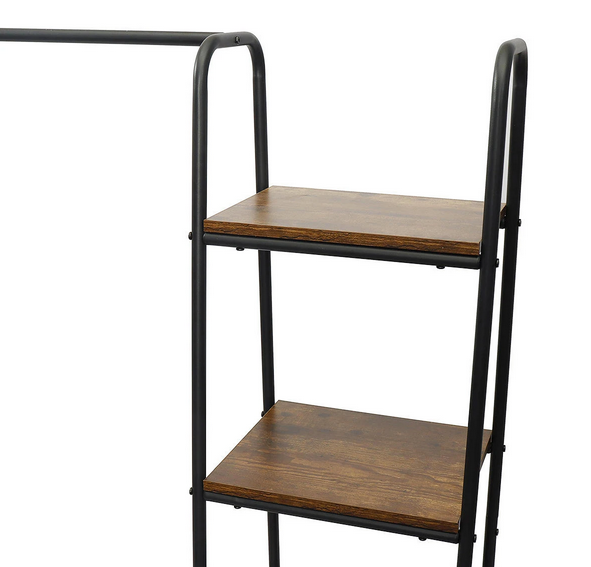 two wooden shelves on a clothing coat rack