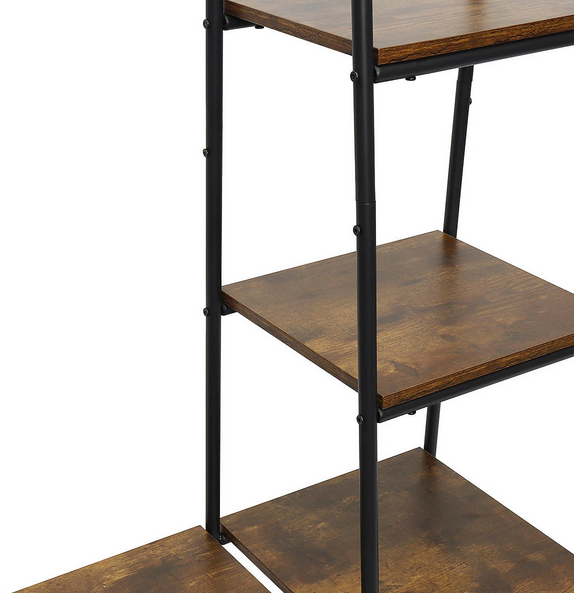 three shelves wooden with metal racks on a clothing coat rack