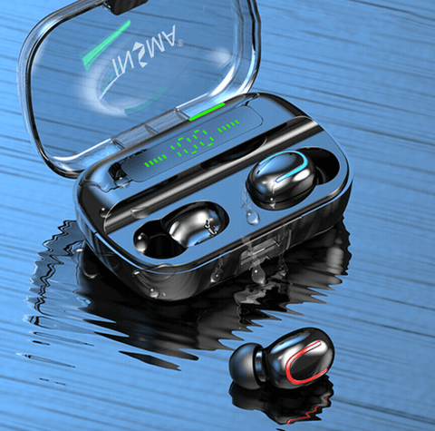 wireless bluetooth noise cancelling earbuds in black case