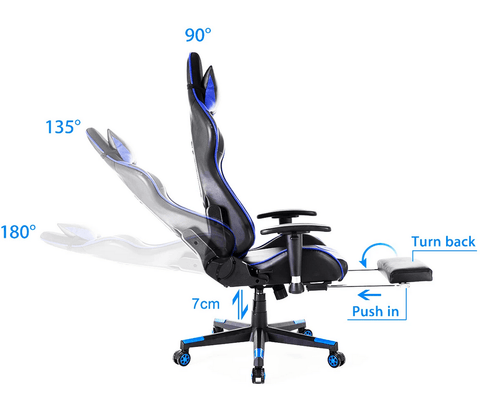 adjustable gaming chair with full bed recline