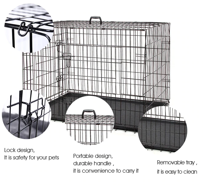 PetTime™ Large Dog Crate Portable 42 Inch Heavy Duty Kennel Cage
