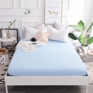 Svetanya 100 Cotton Fitted Sheets Plain Solid Color Bedsheets Elastic Mattress Cover Protective Case Single full double queen
