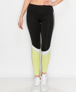 Neon Color Block Full Length Legging - Legging Fetish