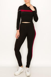 2 PC  Crop Hoodie Legging Set - Legging Fetish