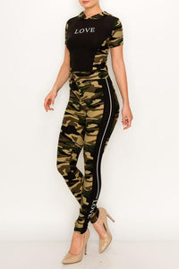 2 PC Crop Camouflage Hoodie Legging Set - Legging Fetish