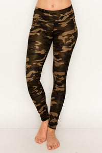 Camouflage High Waisted Legging with Mesh Inlay - Legging Fetish