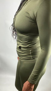 Zip Up Hoodie and Legging Tights Set - Olive - Legging Fetish