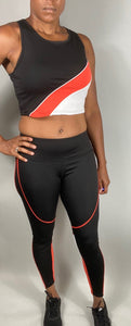 Color Block Crop Top and Full Length Legging Set - Legging Fetish