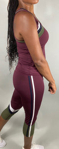 Color Block Crop Top And Capri Set - Purple - Legging Fetish