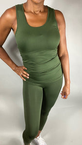 Scoop Neck Seamless Longline Tank Top - Army Green - Legging Fetish