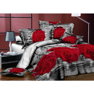Adeeing 4Pcs/Set 3D Rose Flower Printing Pillowcase Quilt Cover Bed Sheet Bedding Set