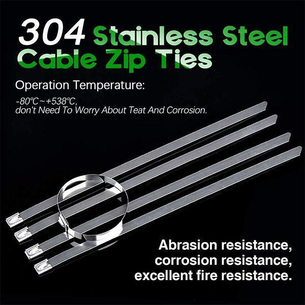 Multi-Purpose Locking Cable Metal Zip Ties (100PCS)