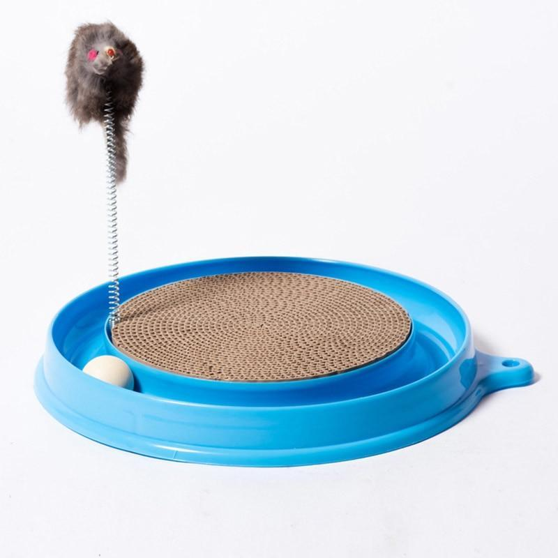 Cat / Kitten Scratching Pad with Springy Toy and Ball