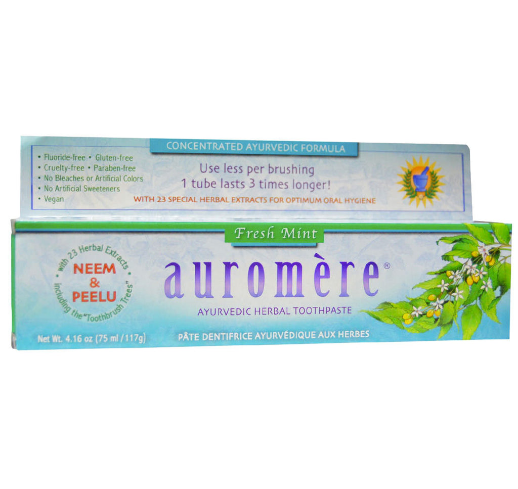 Auromere, Ayurvedic Herbal Toothpaste, Fresh Mint (117g) - Hu Organics