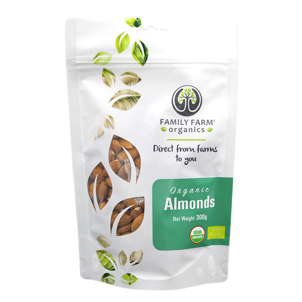Organic Raw Almonds, Family Farm Organics (300g) - Hu Organics