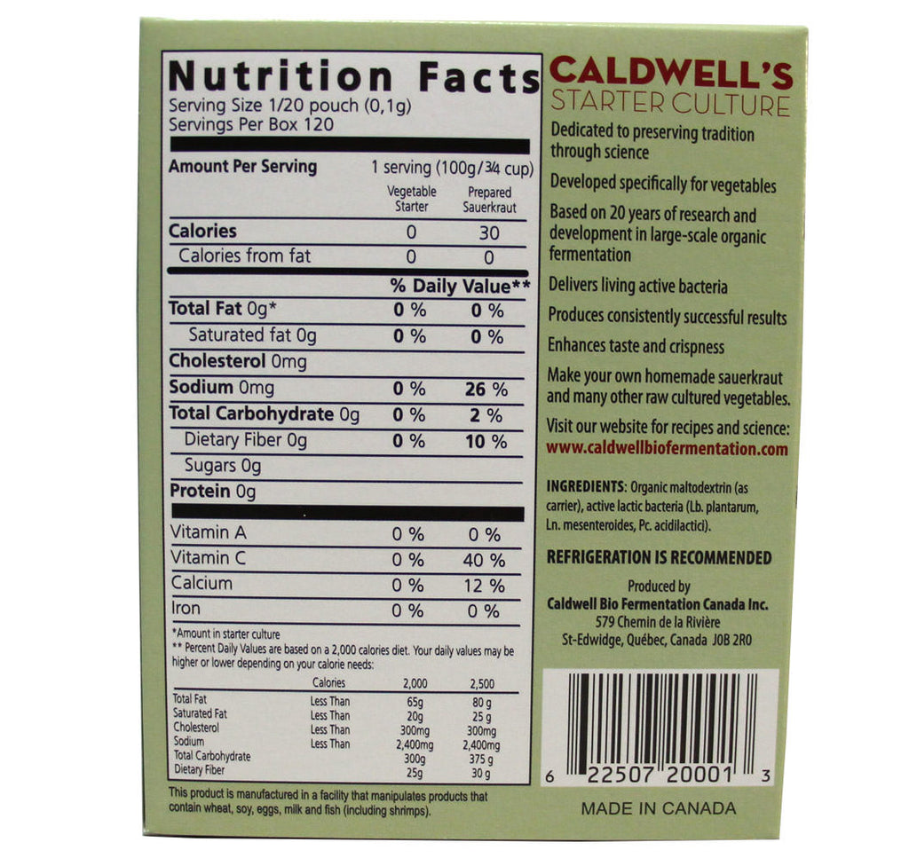 Caldwell's, Vegetable Starter Culture, Six pouches (12g) - Hu Organics