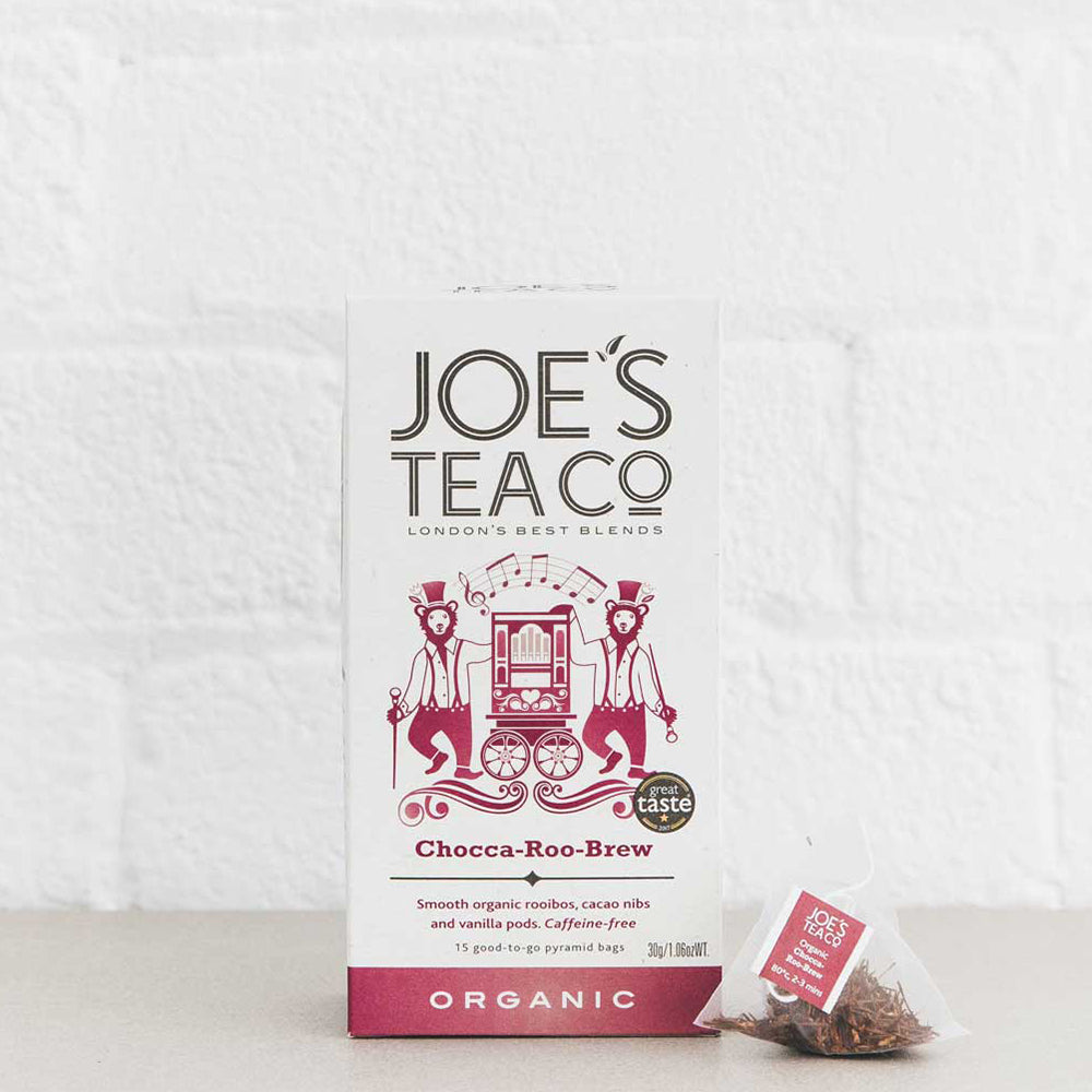 Joe's Tea, Organic Chocca-Roo-Brew, 15 Pyramid Tea Bags (30g) - Hu Organics