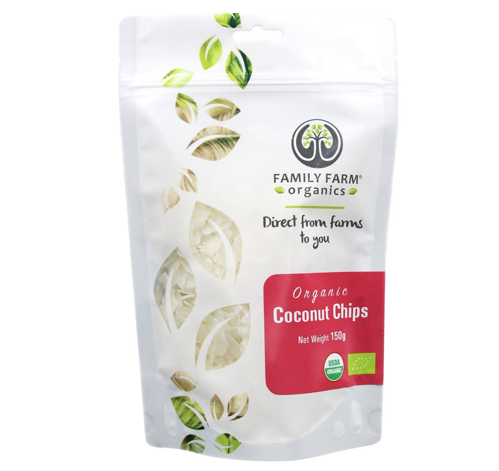 Organic Raw Coconut Chips / Flakes, Family Farm Organics (150g) - Hu Organics