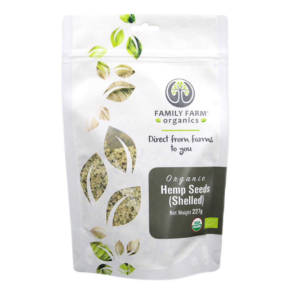 Organic Raw Hemp Seeds, Family Farm Organics (227g) - Hu Organics