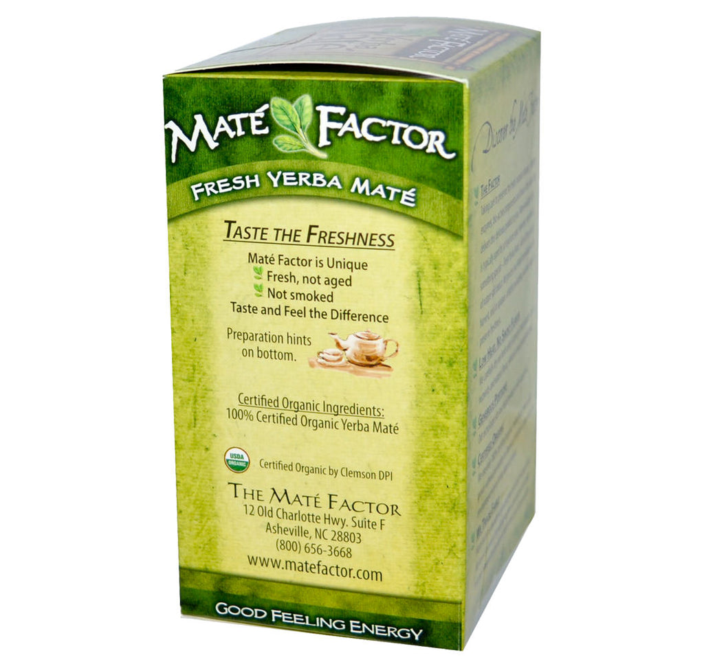 Mate Factor, Organic Fresh Green Yerba Mate, 24 Tea Bags (84g) - Hu Organics