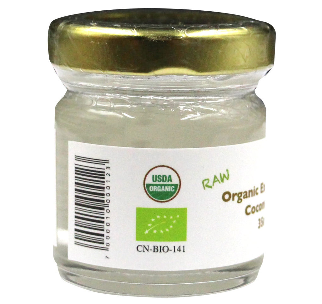Organic Extra Virgin Coconut Oil, Family Farm Organics (35ml) - Hu Organics