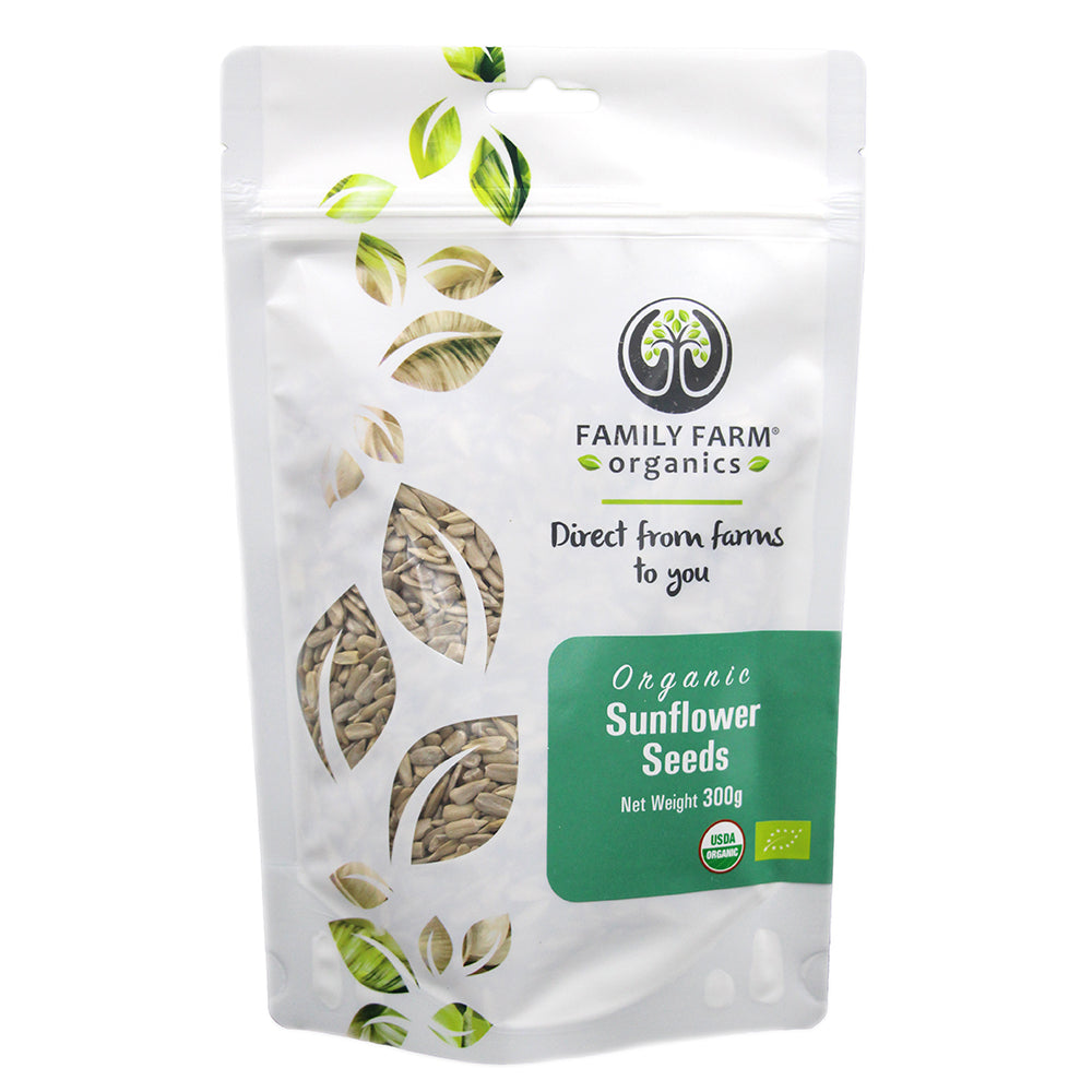 Organic Raw Sunflower Seeds, Family Farm Organics (300g) - Hu Organics
