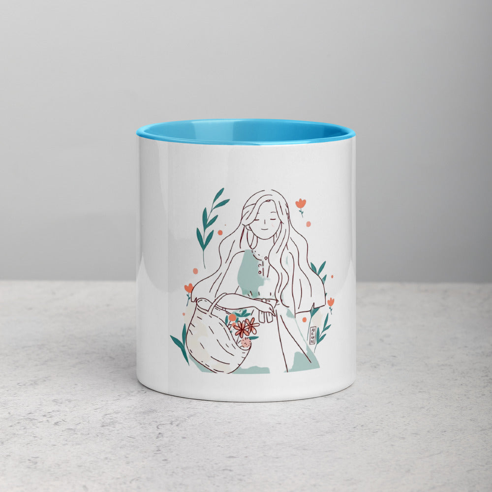 Girl Carrying Flowers Mug