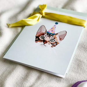 CARTE  - Chat de fête - Happy Spirit Illustrations